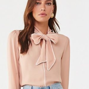 BRAND NEW! Bow chiffon top (Dusty Pink/Ivory)